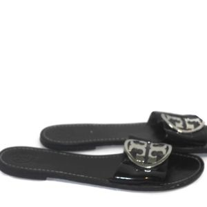 Tory Burch Black Leather Gold Logo Sandals Sz 10.5